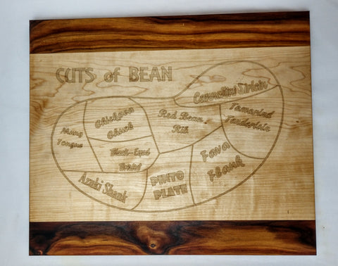 Cuts of Bean Vegan / Vegetarian Cutting Board In Hard Maple And Canarywood