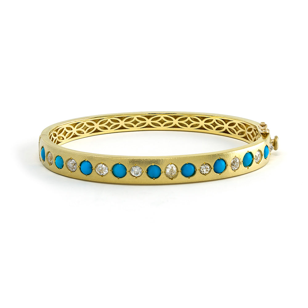 Diamond & Turquoise Burnished Bangle