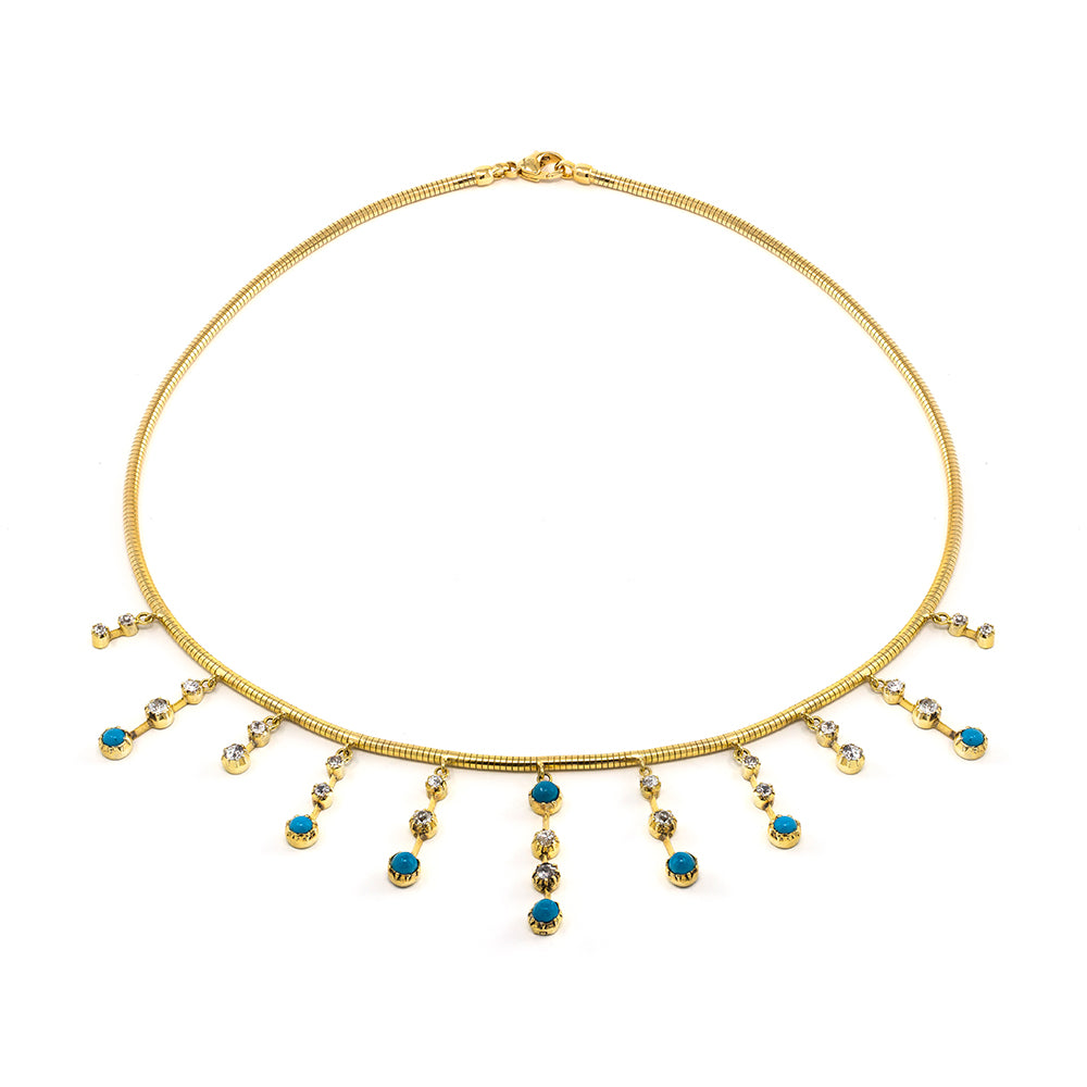 Double Drop Turquoise & Diamond Fringe Necklace