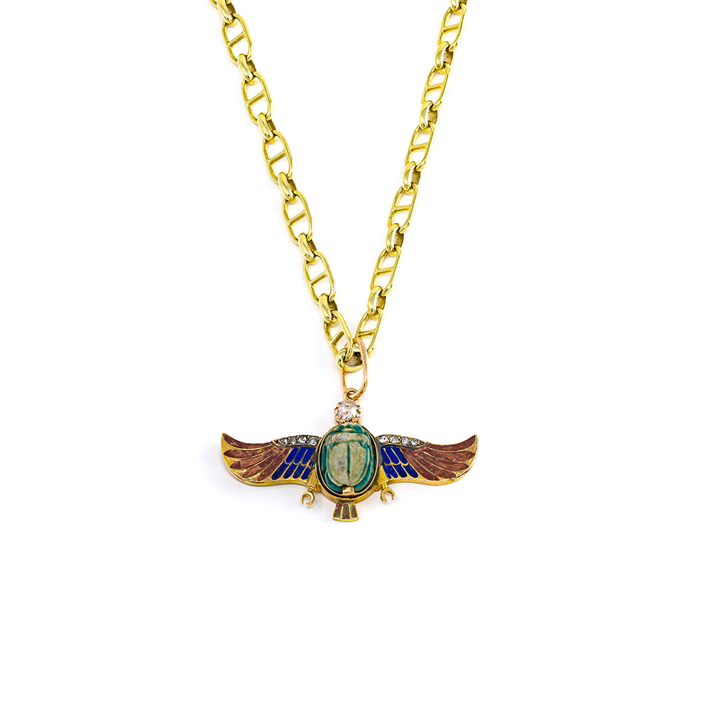 Enamel Winged Scarab in Orange