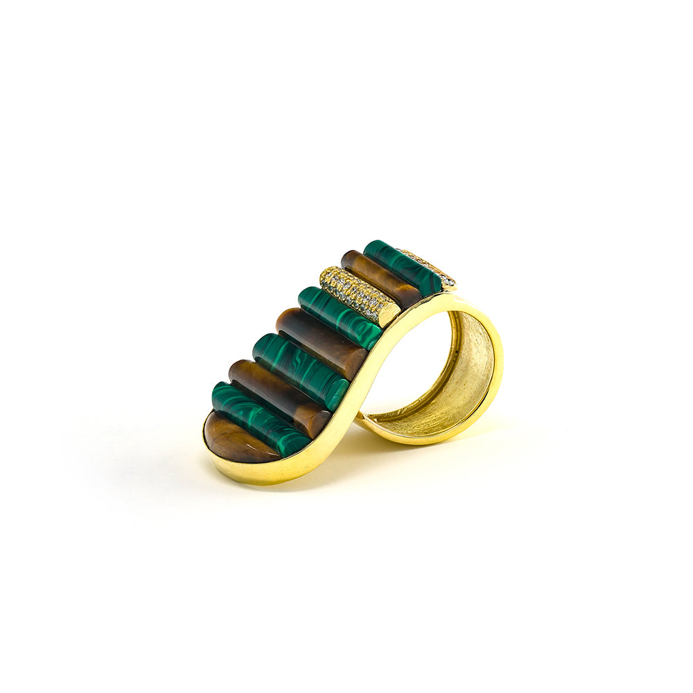 Malachite & Tiger's Eye Piano Ring