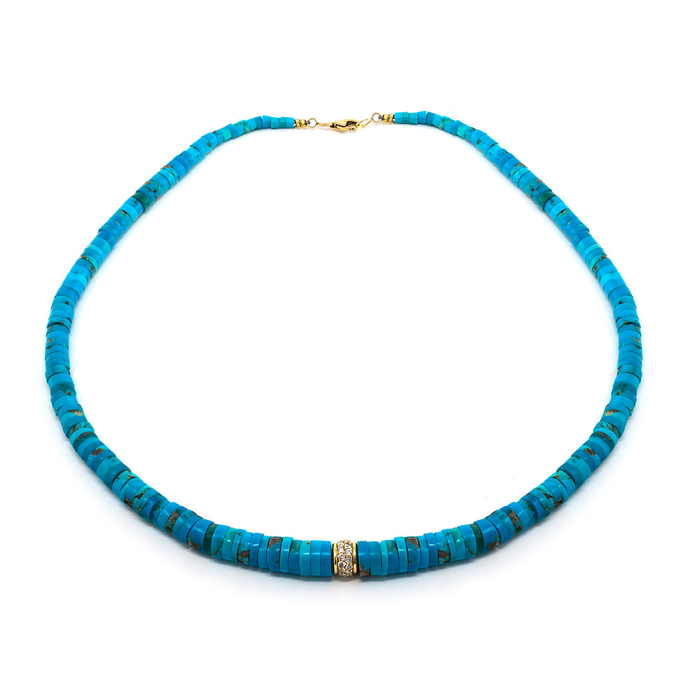 Sliced Turquoise & Diamond Bead Necklace
