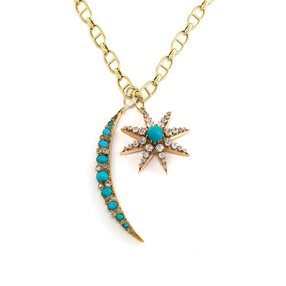 Victorian Turquoise & Diamond Crescent Moon