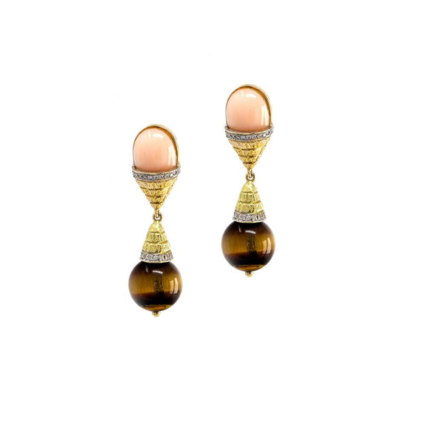 Coral & Tiger's Eye Egg Drop Earrings