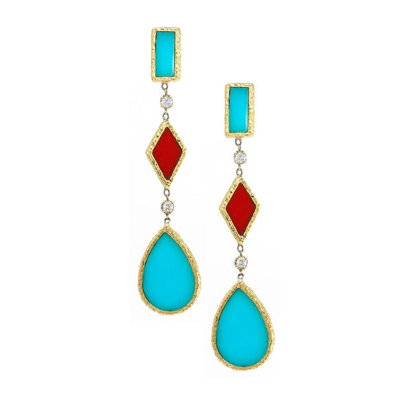 Coral & Turquoise Drop Earrings