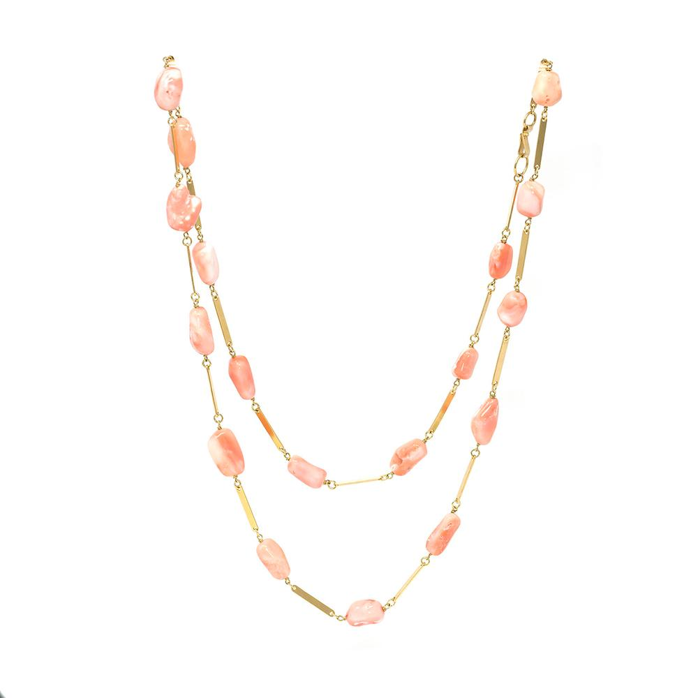 Long Coral & Gold Chain Alternate
