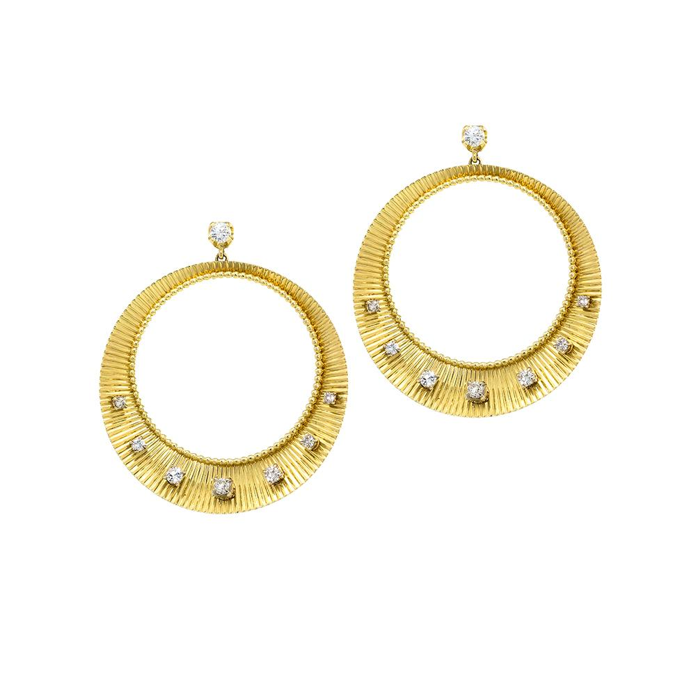 Crescent Diamond Hoops