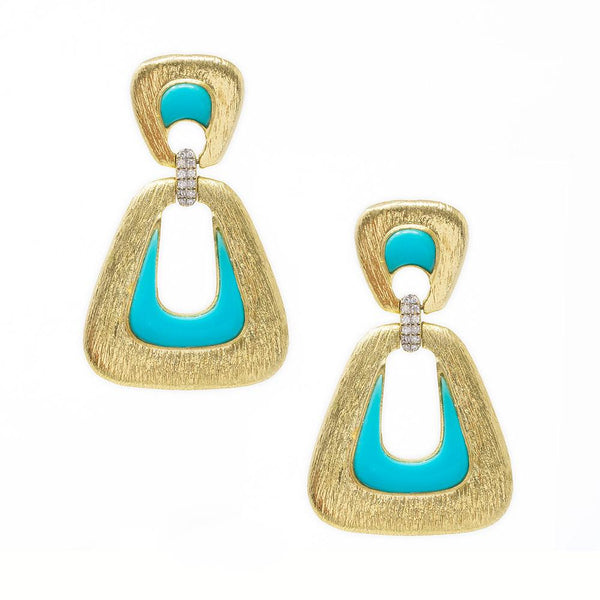 Jackie O Earrings in Turquoise