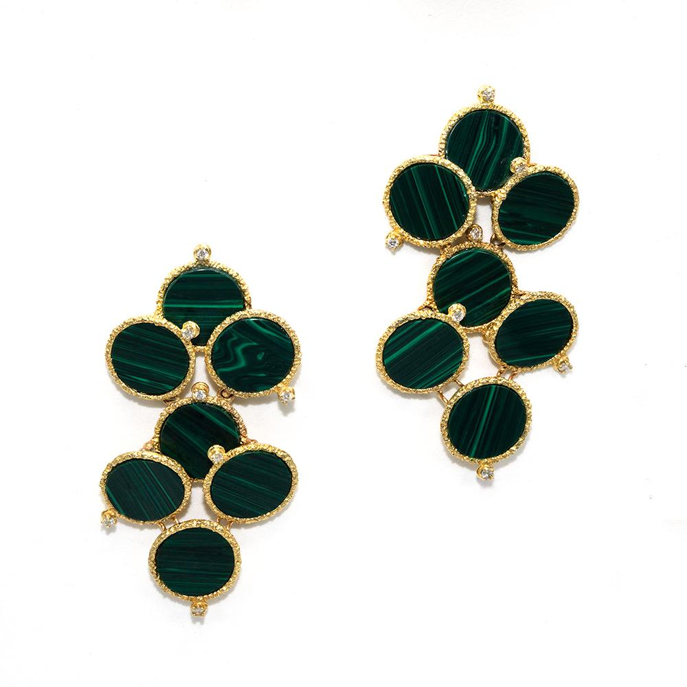 Malachite Cloud Earrings Alternate