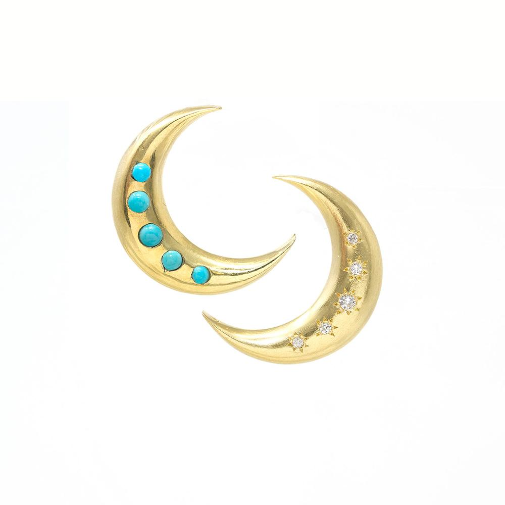 Two Moon Earrings