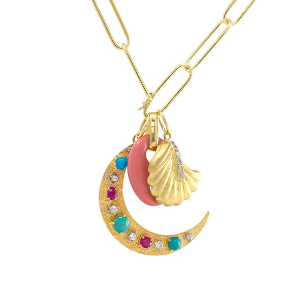 Ruby & Turquoise Flat Moon Charm