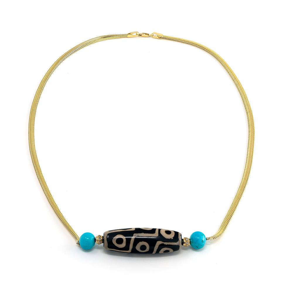 Tribal Bead & Diamond Rondele Necklace