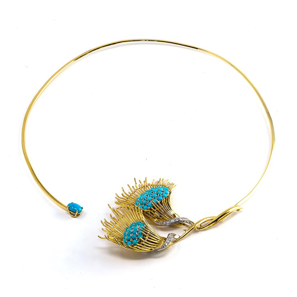 Turquoise & Feather Collar