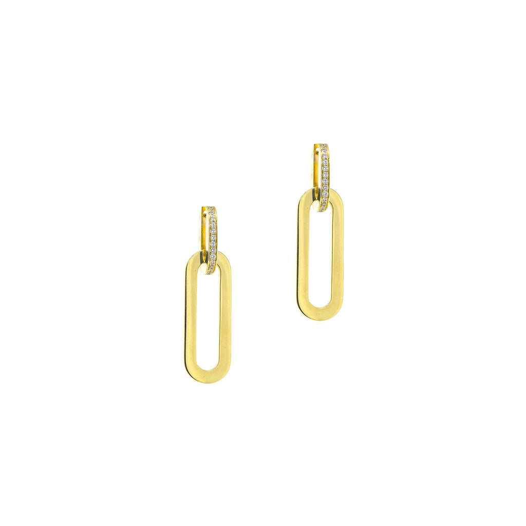 Rectangular Link Earrings with Diamonds