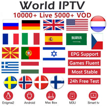 Load image into Gallery viewer, World IPTV 10000 channels 5000 VOD Europe Nordic Israel Netherland France UK German Sweden French M3U Smart TV