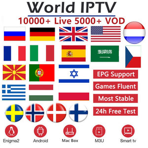 World IPTV 10000 channels 5000 VOD Europe Nordic Israel Netherland France UK German Sweden French M3U Smart TV