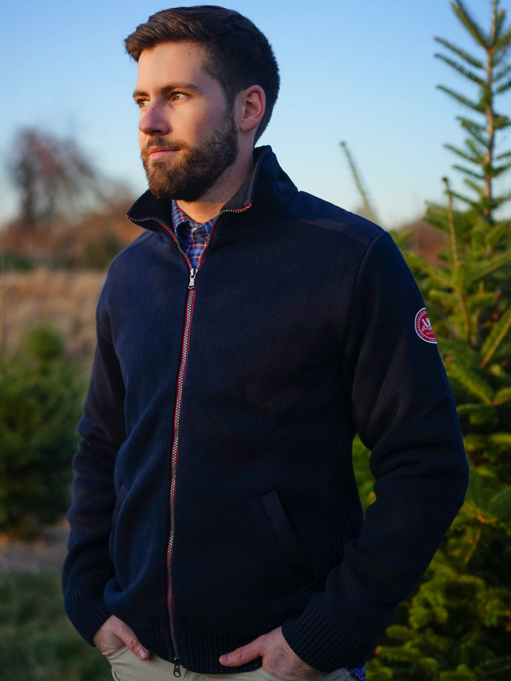 Gregor Wool Full Zip -Navy - Island Outfitters