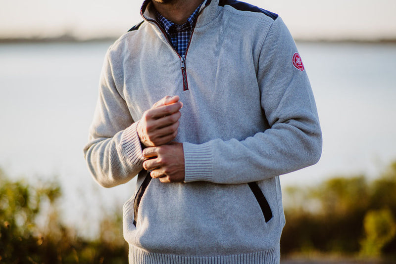 Gregor 1/4 Zip Windproof  -Lt Grey - Island Outfitters
