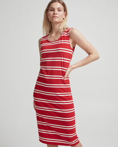 NatalieTank Dress Scarlet/ Off White