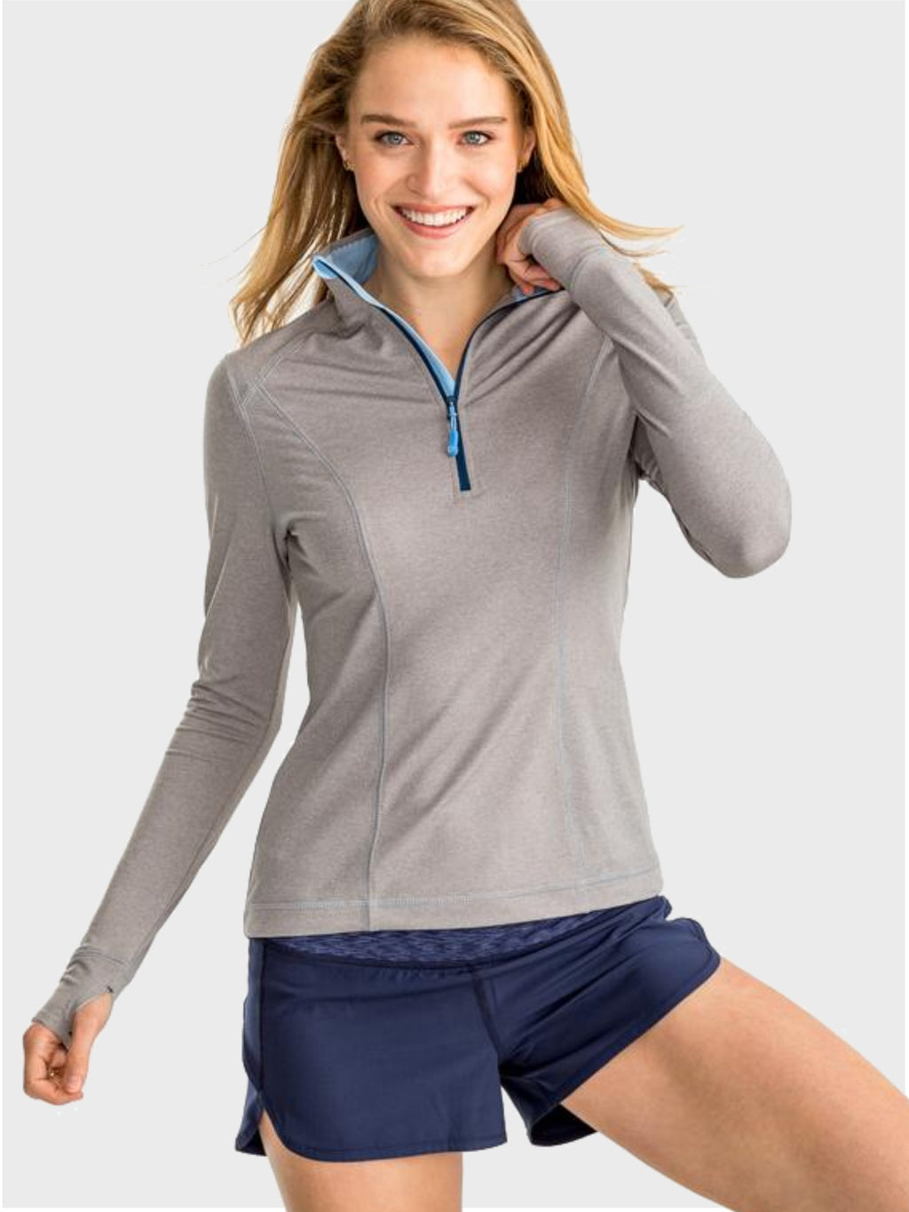 Skipjack Athletic 1/4 Zip - Heather Grey - Island Outfitters