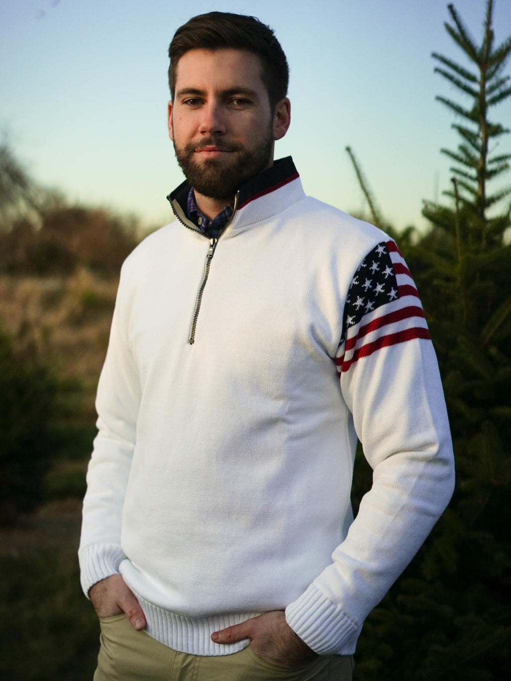 US Flag 1/4 ZIp Windproof - Island Outfitters