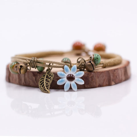 Handmade Ceramic Flower Leaf DIY Bracelets