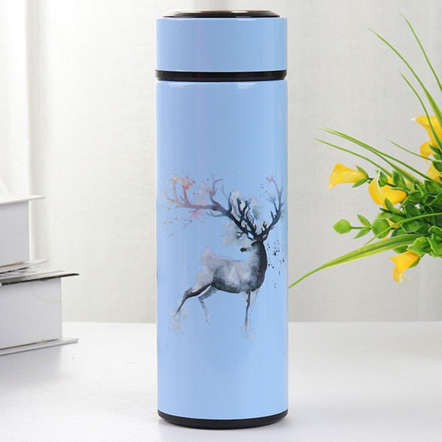 Double Wall Vacuum Thermos with Deer Decoration