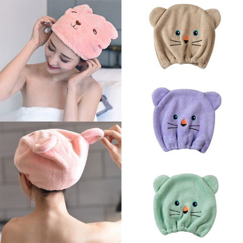 Breathable Microfiber Hair Turban Towel Cap