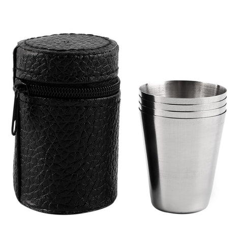 4PCS Stainless Steel Camping Cup Mug With Case