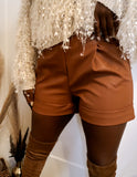 Chamblee Faux Leather Shorts
