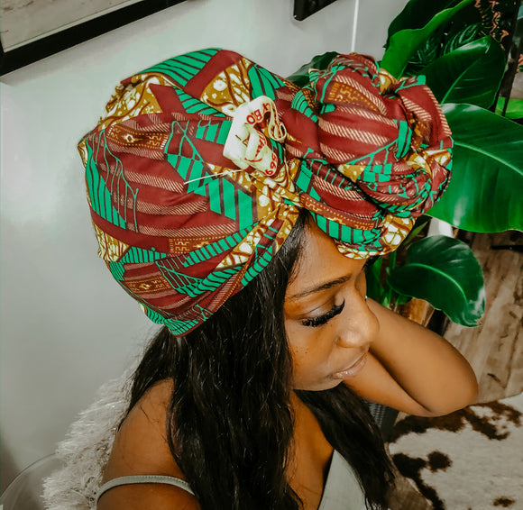 African print head wrap green maroon