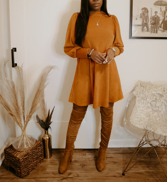 Pumpkin Spice Mock Neck Dress