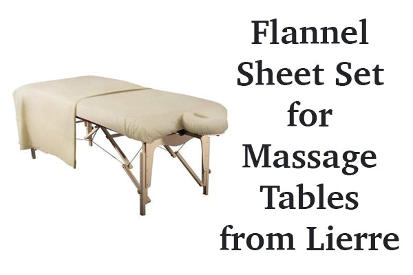Flannel Massage table sheets from Lierre.ca Canada
