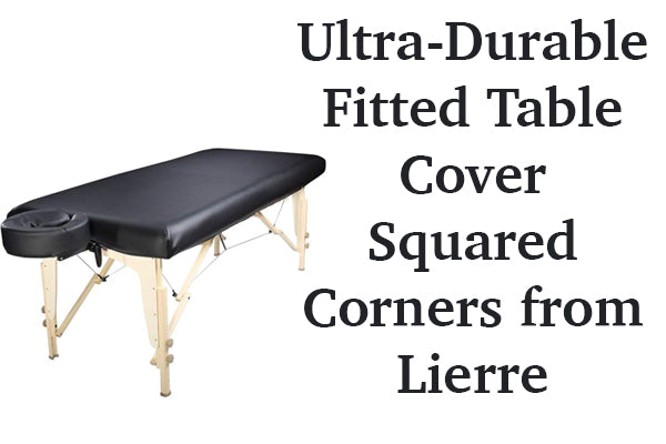 Ultra-durable fitted table cover squared corners from Lierre.ca Canada