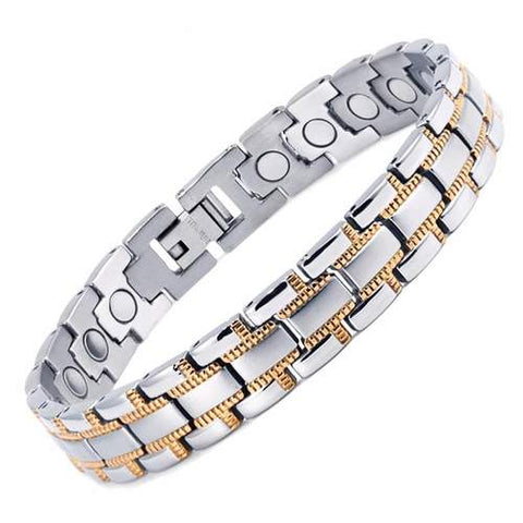 Silver and Gold Magnetic Therapy Bracelet gift guide ideas for him - Lierre.ca Canada