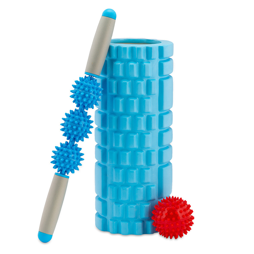 Fitness foam roller set, with 1 spiky massage ball and 1 spiky massage roller stick