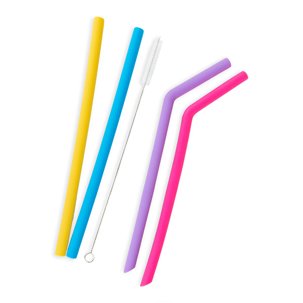 Reusable silicone drinking straws 4 pcs with one cleaning brush, one storage bag