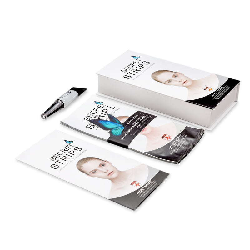 Secret Strips Anti-Wrinkle Facial Strips with Hyaluronic Acid Skincare Set