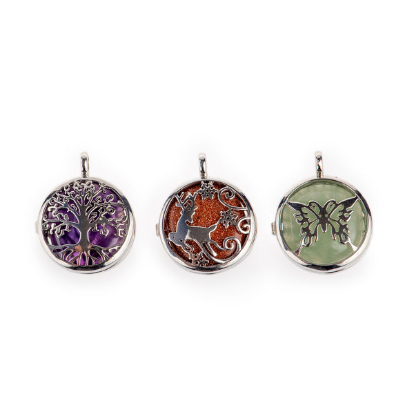 Gemstone Locket Pendant (3pcs)