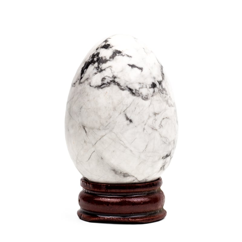 Natural Handcarved Howlite Gemstone Egg