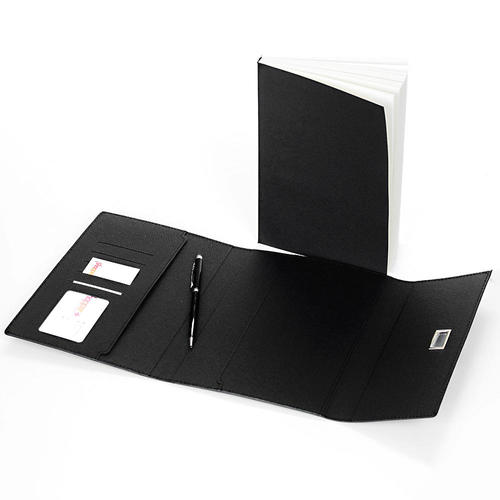 PU Notebook, 96 Sheets, A5, Black, With Pen