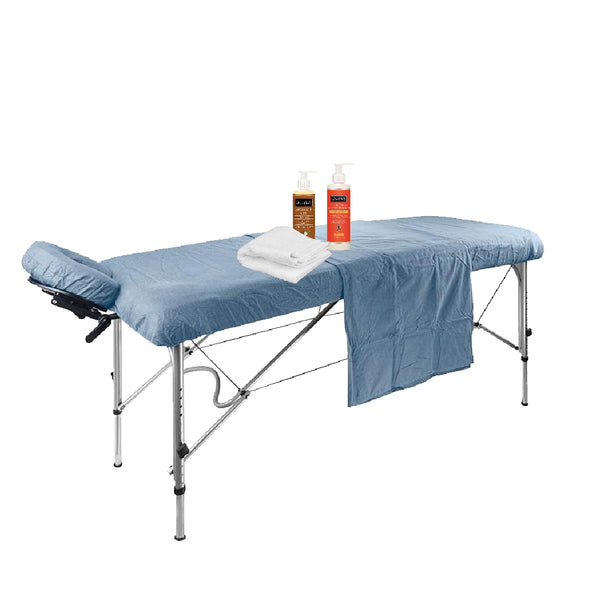 Massage supplies with table sheet and oils