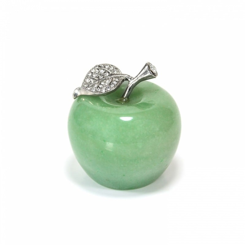 Natural Aventurine Apple Statue with Alloy Leaf 1.68inches