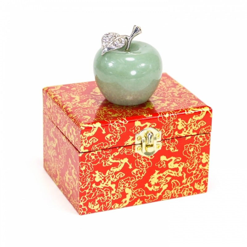 Natural Aventurine Apple Statue with Alloy Leaf 2inches