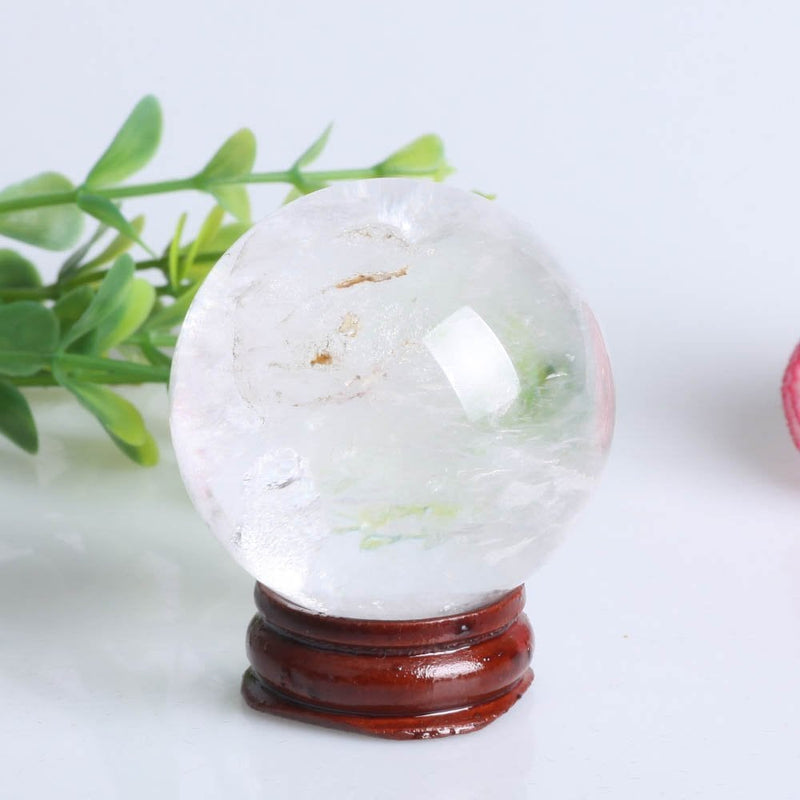"Natural Clear Quartz Crystal Ball 43mm (1.73"") with Stand"