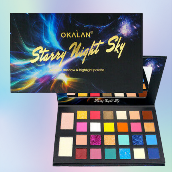 OKALAN Starry Night Sky 26 Color Eye Shadow and Highlight Palette