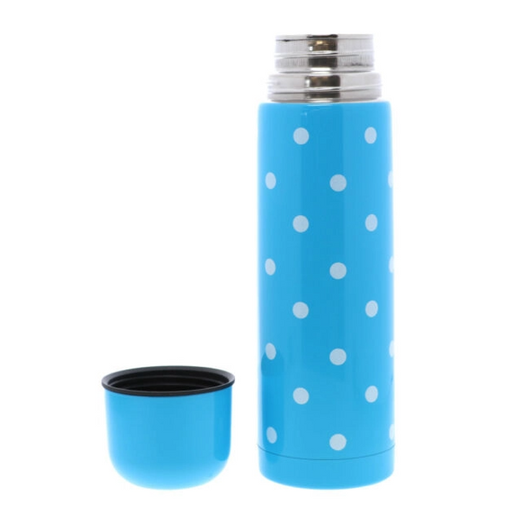BONITA HOME Blue Polka Dot Thermos with Cup