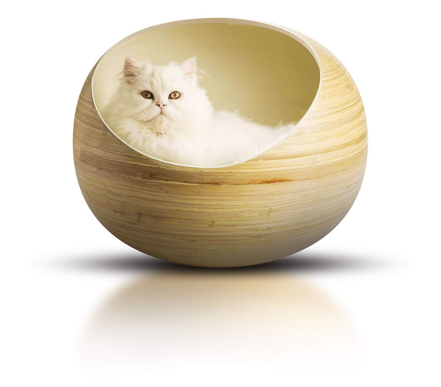 Fhasso Luxury Bamboo Wicker Cat Bed For Indoor Cats Eco Friendly Handmade Cat Cave Bed With Washable Velvet Cushion Calming Bed For Small Dogs