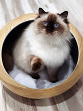 Load image into Gallery viewer, Fhasso Luxury Bamboo Bed for Indoor Cats and Small Dogs - Eco-Friendly, Handmade Cat Cave Bed with Washable Velvet Cushion - Calming Bed for SMALL Dogs and Cats Pod - Modern, Decorative Design