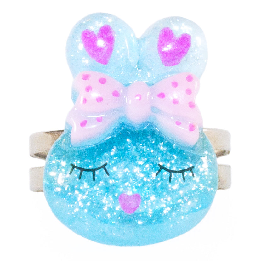 Blue Sparkly Bunny Ring